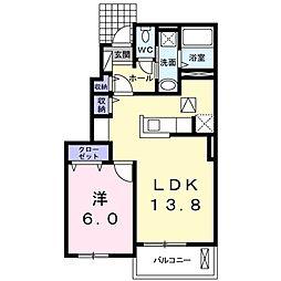 JR高崎線 神保原駅 バス4分 長久保公園南下車 徒歩19分の賃貸アパート 1階1LDKの間取り