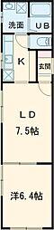 東武東上線 大山駅 徒歩5分の賃貸マンション 2階1LDKの間取り