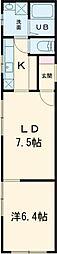 東武東上線 大山駅 徒歩5分の賃貸マンション 3階1LDKの間取り