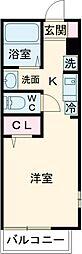 ヴィラベルデ芦花公園 2階ワンルームの間取り