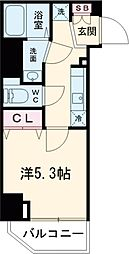 レオンコンフォート池田山 8階1Kの間取り