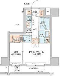 アジールコート新高円寺 6階1DKの間取り