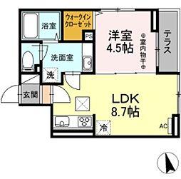 JR中央線 豊田駅 徒歩25分の賃貸アパート 3階1LDKの間取り