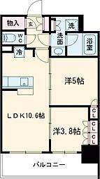 JR山手線 大崎駅 徒歩7分の賃貸マンション 10階2LDKの間取り
