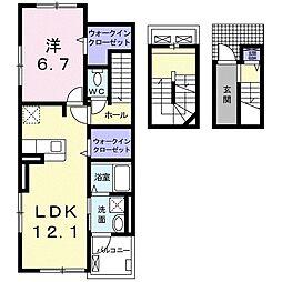 秩父鉄道 行田市駅 徒歩25分の賃貸アパート 3階1LDKの間取り