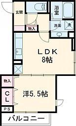 京王線 府中駅 徒歩3分の賃貸アパート 2階1LDKの間取り