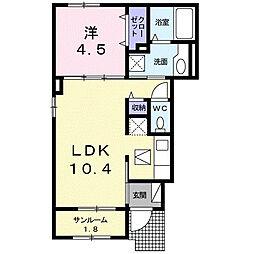JR常磐線 水戸駅 バス40分 長岡下車 徒歩2分の賃貸アパート 1階1LDKの間取り