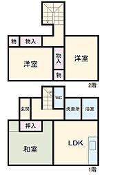 JR総武本線 八街駅 3.2kmの賃貸一戸建て 1階3LDKの間取り