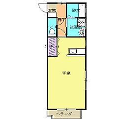JR東海道本線 磐田駅 バス15分 上岡田北下車 徒歩3分の賃貸マンション 2階ワンルームの間取り