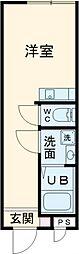 東京メトロ千代田線 北千住駅 徒歩8分の賃貸アパート 2階ワンルームの間取り