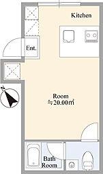京急本線 雑色駅 徒歩6分の賃貸マンション 3階ワンルームの間取り