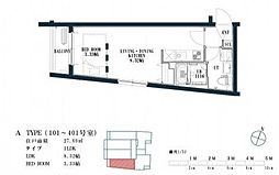 福岡市地下鉄空港線 唐人町駅 徒歩8分の賃貸マンション 1階1LDKの間取り
