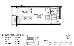 福岡市地下鉄空港線 唐人町駅 徒歩8分の賃貸マンション 2階1LDKの間取り