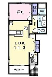 湘南新宿ライン高海 鴻巣駅 徒歩27分の賃貸アパート 1階1LDKの間取り