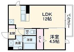 仮)D-room豊橋市東幸町ハイツ 1階1LDKの間取り