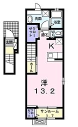 JR東北本線 宇都宮駅 バス14分 ベルモール入口下車 徒歩5分の賃貸アパート 2階1Kの間取り