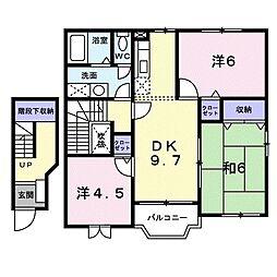 JR予讃線 多度津駅 徒歩7分の賃貸アパート 2階3DKの間取り