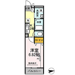 仮)D-room花畑PJ 2階1Kの間取り