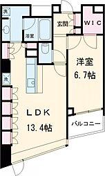 パークキューブ目黒タワー 7階1LDKの間取り