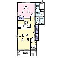 JR両毛線 岩宿駅 徒歩17分の賃貸アパート 1階1LDKの間取り