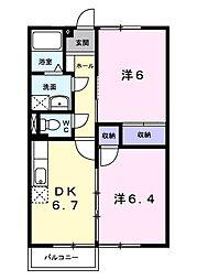 JR総武本線 榎戸駅 徒歩8分の賃貸アパート 2階2DKの間取り