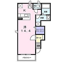 東武伊勢崎線 新伊勢崎駅 徒歩34分の賃貸アパート 1階1Kの間取り