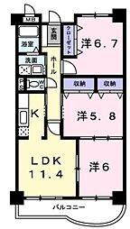 京成本線 京成成田駅 徒歩24分の賃貸マンション 5階3LDKの間取り