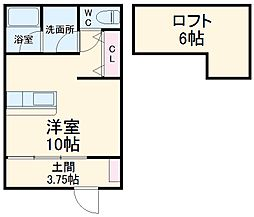 JR東海道本線 浜松駅 徒歩18分の賃貸アパート 2階ワンルームの間取り