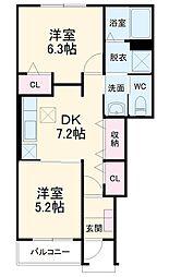 JR成田線 成田駅 バス23分 富里中学校下車 徒歩16分の賃貸アパート 1階2DKの間取り