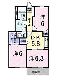 JR予讃線 丸亀駅 バス16分 土器本村下車 徒歩4分の賃貸アパート 1階3DKの間取り