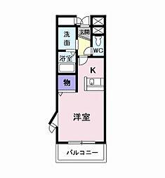 愛知環状鉄道 愛環梅坪駅 バス15分 市木橋下車 徒歩2分の賃貸マンション 3階1Kの間取り