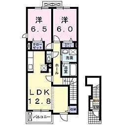 東武桐生線 新桐生駅 徒歩13分の賃貸アパート 2階2LDKの間取り