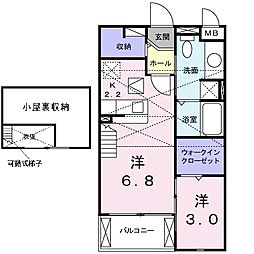 JR武蔵野線 市川大野駅 徒歩4分の賃貸アパート 2階1LDKの間取り