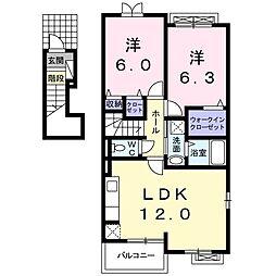 JR総武本線 八街駅 徒歩21分の賃貸アパート 2階2LDKの間取り