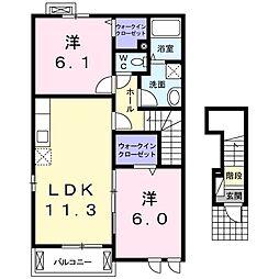 JR両毛線 岩宿駅 徒歩23分の賃貸アパート 2階2LDKの間取り