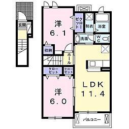 東武宇都宮線 野州平川駅 徒歩12分の賃貸アパート 2階2LDKの間取り