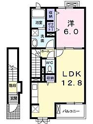 ラフレシ−ルI 2階1LDKの間取り