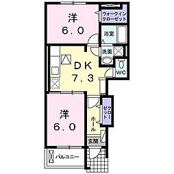 豊橋鉄道渥美線 高師駅 徒歩9分の賃貸アパート 1階2DKの間取り