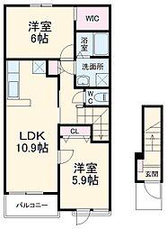 JR総武本線 四街道駅 バス6分 萱橋台下車 徒歩4分の賃貸アパート 2階2LDKの間取り