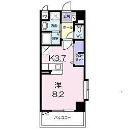沖縄都市モノレール 壺川駅 徒歩7分の賃貸マンション 2階1Kの間取り