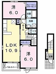 JR両毛線 岩宿駅 徒歩11分の賃貸アパート 2階2LDKの間取り