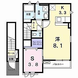 JR鹿児島本線 南福岡駅 バス8分 小倉下車 徒歩5分の賃貸アパート 2階1SKの間取り