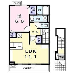 京成本線 志津駅 徒歩14分の賃貸アパート 2階1LDKの間取り