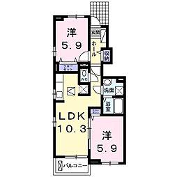 JR日光線 鹿沼駅 バス5分 西久保入口下車 徒歩9分の賃貸アパート 1階2LDKの間取り