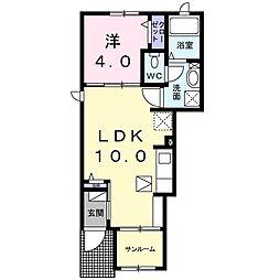 東武佐野線 堀米駅 徒歩12分の賃貸アパート 1階1LDKの間取り