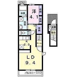 JR東海道本線 豊橋駅 バス13分 三郷北下車 徒歩6分の賃貸アパート 2階1LDKの間取り