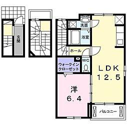 西武新宿線 新狭山駅 徒歩8分の賃貸アパート 3階1LDKの間取り