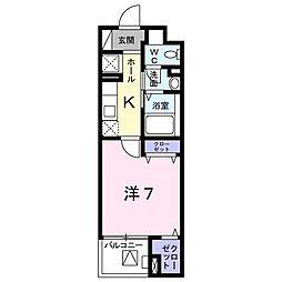 高松琴平電気鉄道琴平線 三条駅 徒歩9分の賃貸マンション 2階1Kの間取り