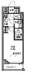 S−RESIDENCE王子east 8階1Kの間取り
