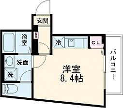 Centro Aoto 3階ワンルームの間取り